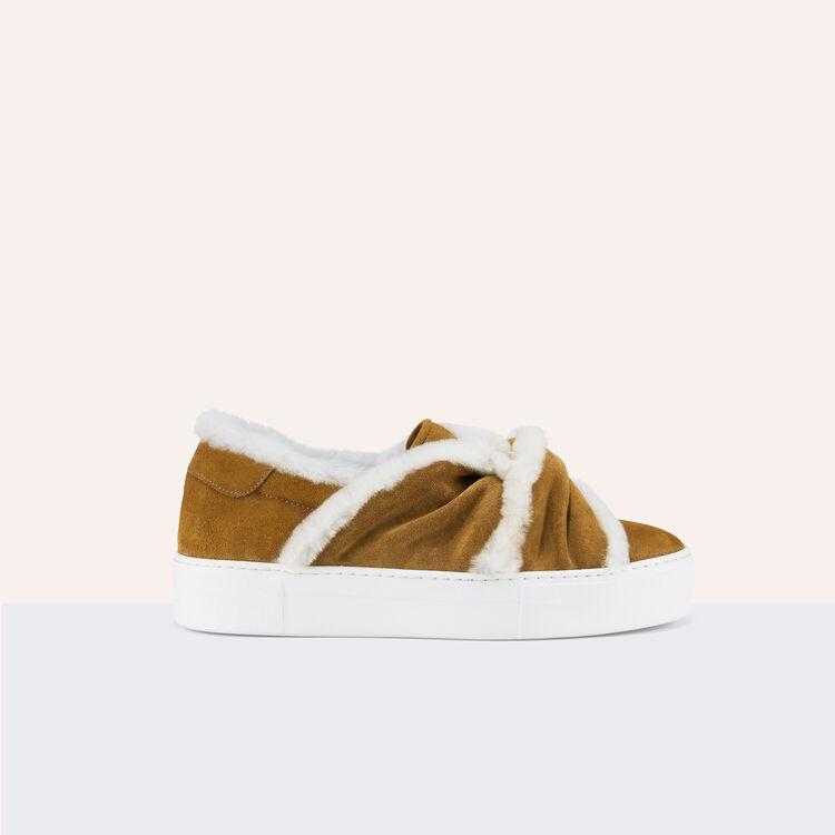 Baskets en suède avec nœud - Chaussures - MAJE