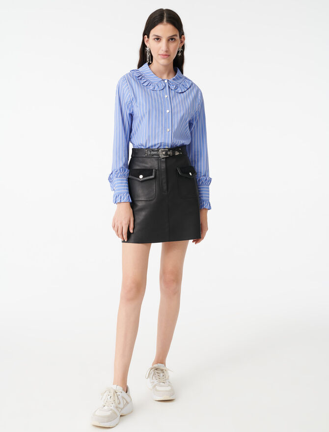 Chemise rayée à col collerette - Tops & Chemises - MAJE