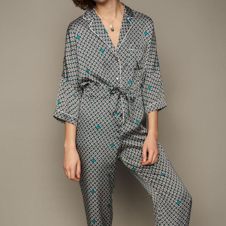 Combi-pantalon en satin imprimé : Combinaisons couleur IMPRIME