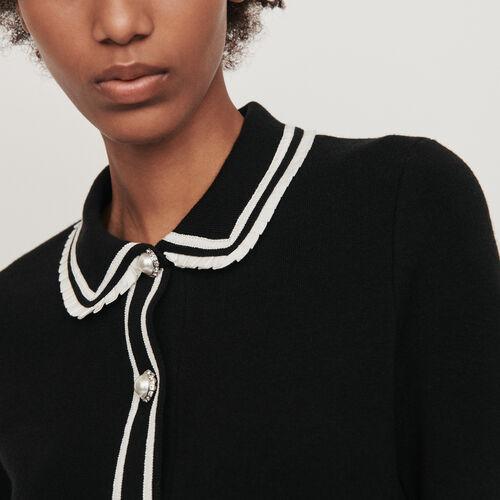 Pull façon polo contrasté et bijoux : Pulls & Cardigans couleur Noir