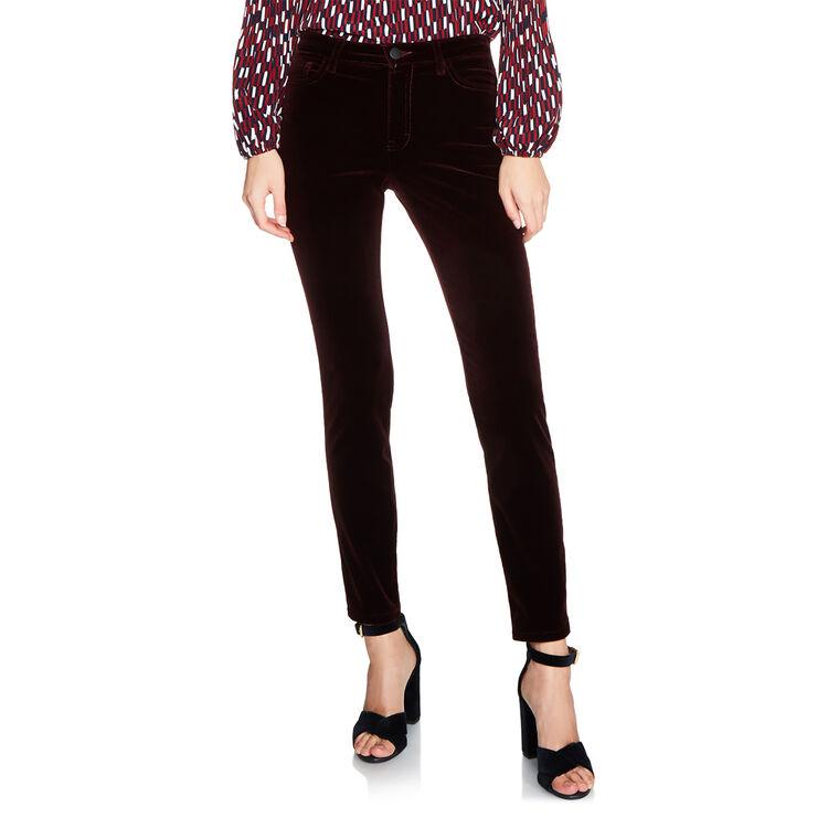Pantalon 5 poches en velours : Pantalons & Jeans couleur BORDEAUX