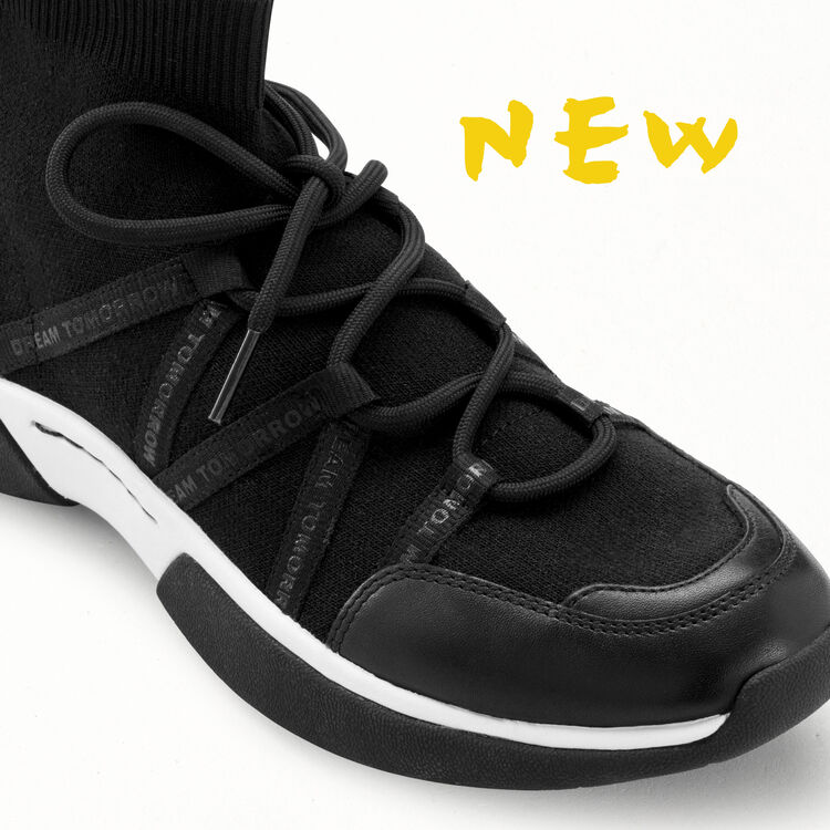 Sneakers W21 montantes en maille stretch : Sneakers couleur Black