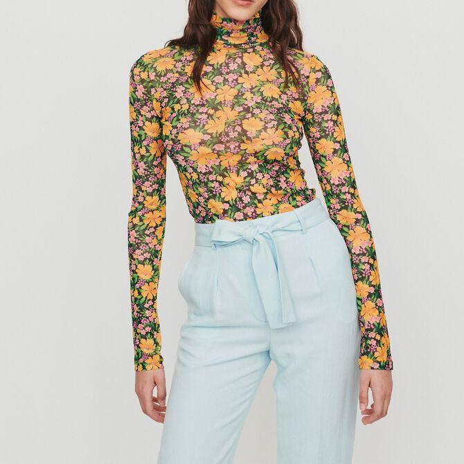 Tee-shirt à col roulé imprimé floral - Voir tout - MAJE