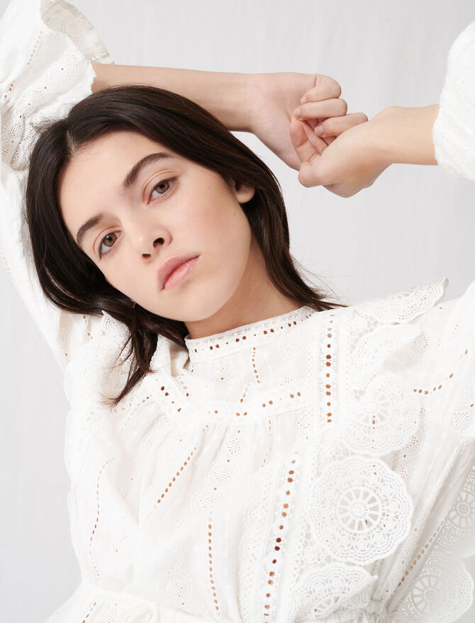 Top blanc à broderies anglaises - Tops & Chemises - MAJE