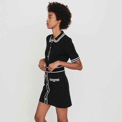 Jupe en maille contrastée à bijoux : Jupes & Shorts couleur Noir