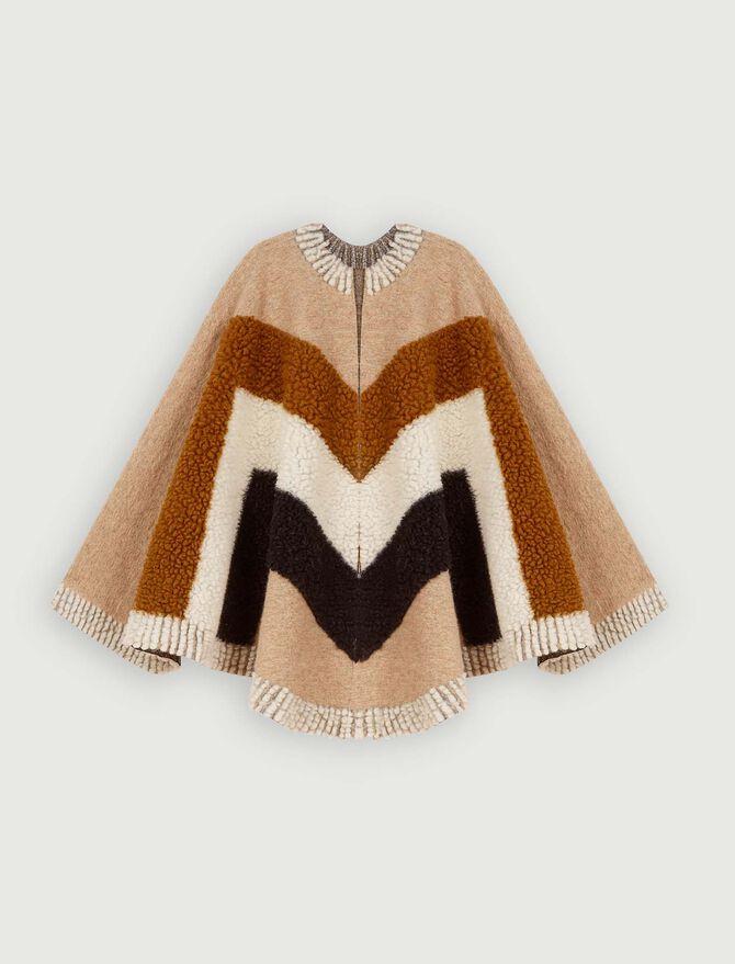 Poncho en laine mélangée multicolor - Châles & Ponchos - MAJE