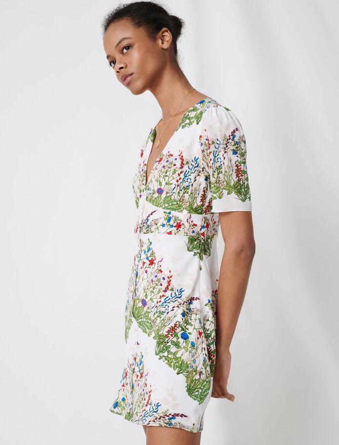 Robe courte en soie imprimée - Robes - MAJE