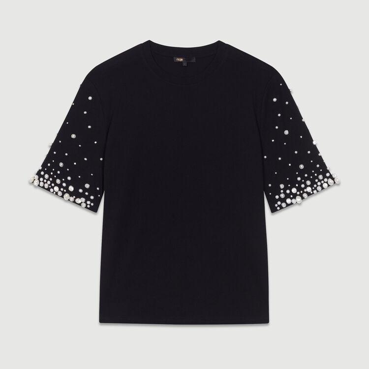 Tee-shirt en coton avec perles : T-Shirts couleur Black