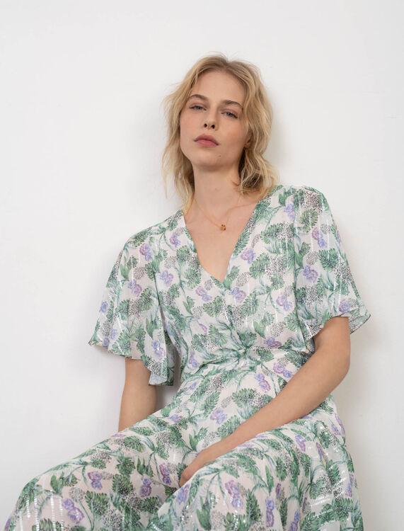 Robe foulard en mousseline imprimée - Éco-responsable - MAJE