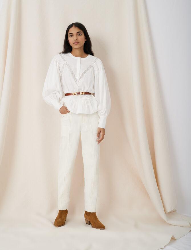 Top façon blouse à galons de guipure - Tops & Chemises - MAJE