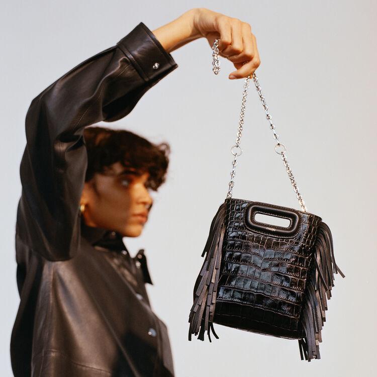 Sac M Mini en cuir embossé avec chaine : M Mini couleur BLACK