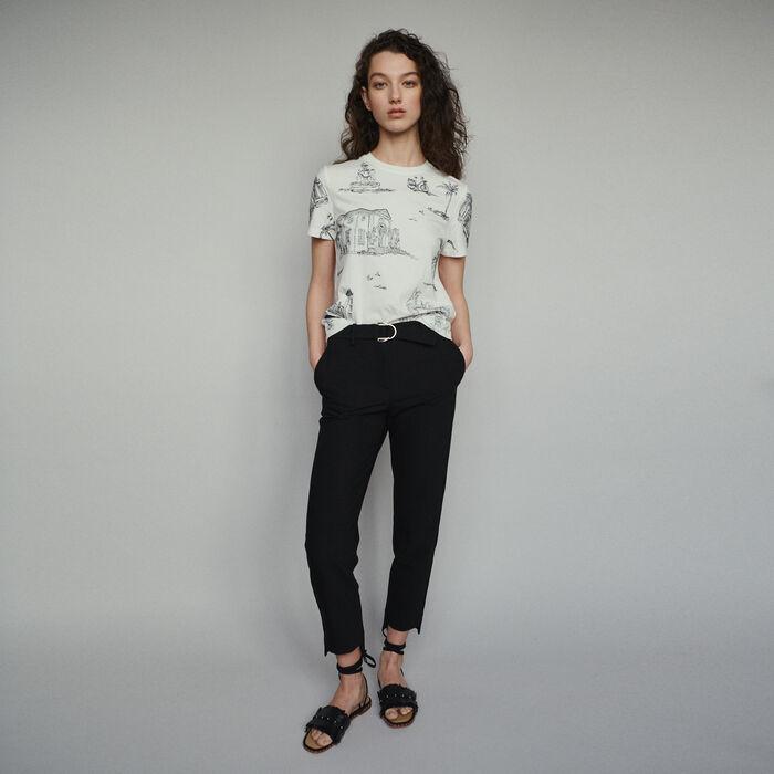 Pantalon droit ceinturé : Pantalons & Jeans couleur Black