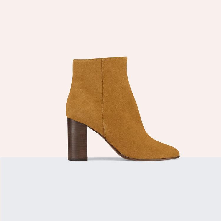 Bottines en cuir de suède : Chaussures couleur Camel