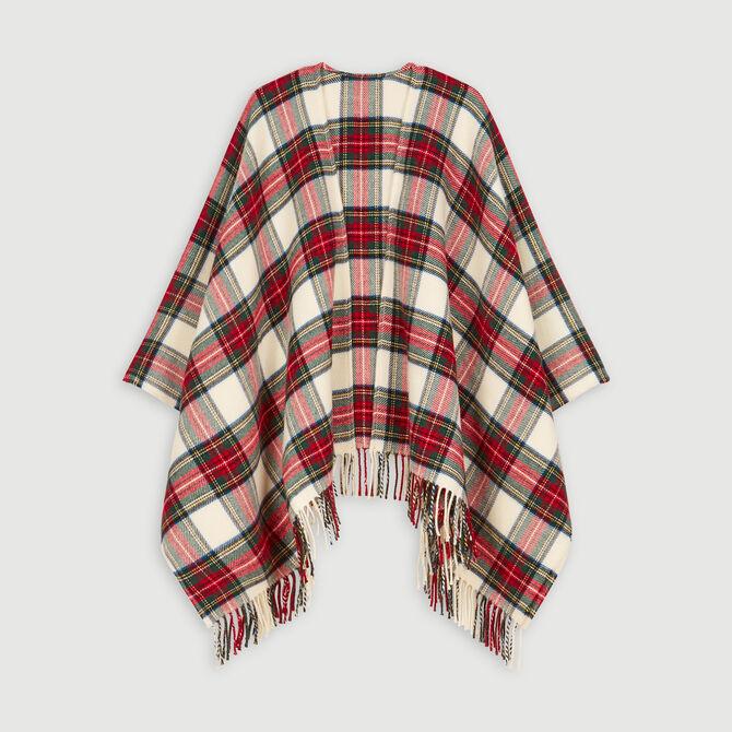 Poncho en laine mélangée à carreaux - Châles & Ponchos - MAJE