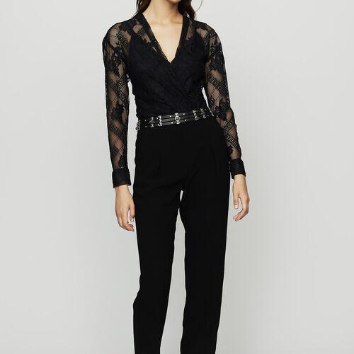 Combi-pantalon en crêpe et dentelle : Pantalons couleur Black