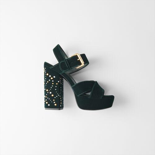 Sandales plate-forme en velours et studs : Escarpins couleur VERT