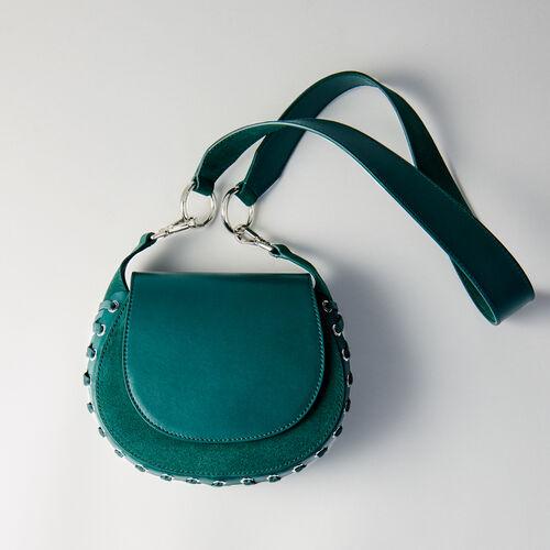 Besace Gyps en cuir et suède à lacets : Nouveautés Sacs couleur VERT