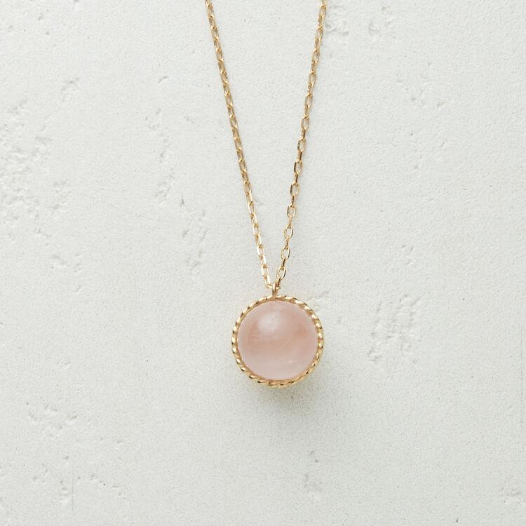 Collier long avec pendentif en pierre : Bijoux couleur ROSE PALE