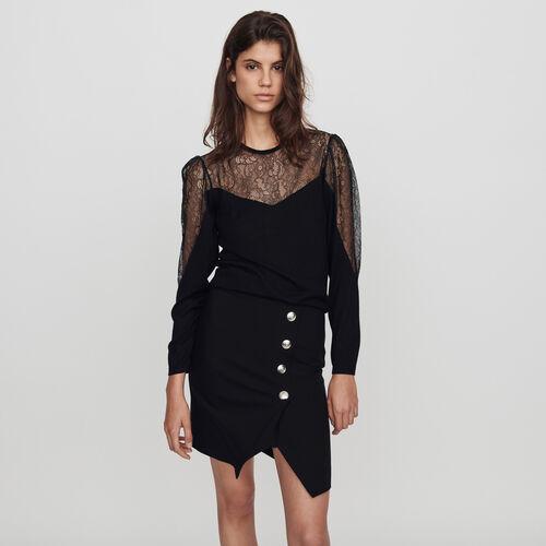 Pull fin en maille et dentelle : Pulls & Cardigans couleur Noir