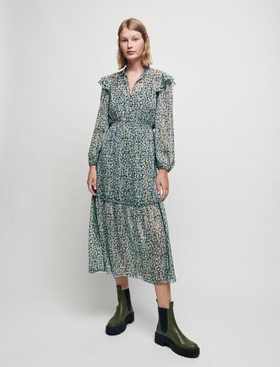 Robe en mousseline lurex imprimée - Robes - MAJE