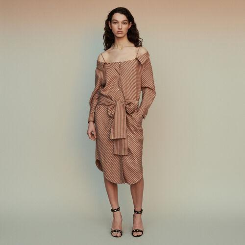 d3dd209a3e4 Robe-chemise rayée à épaules dénudées
