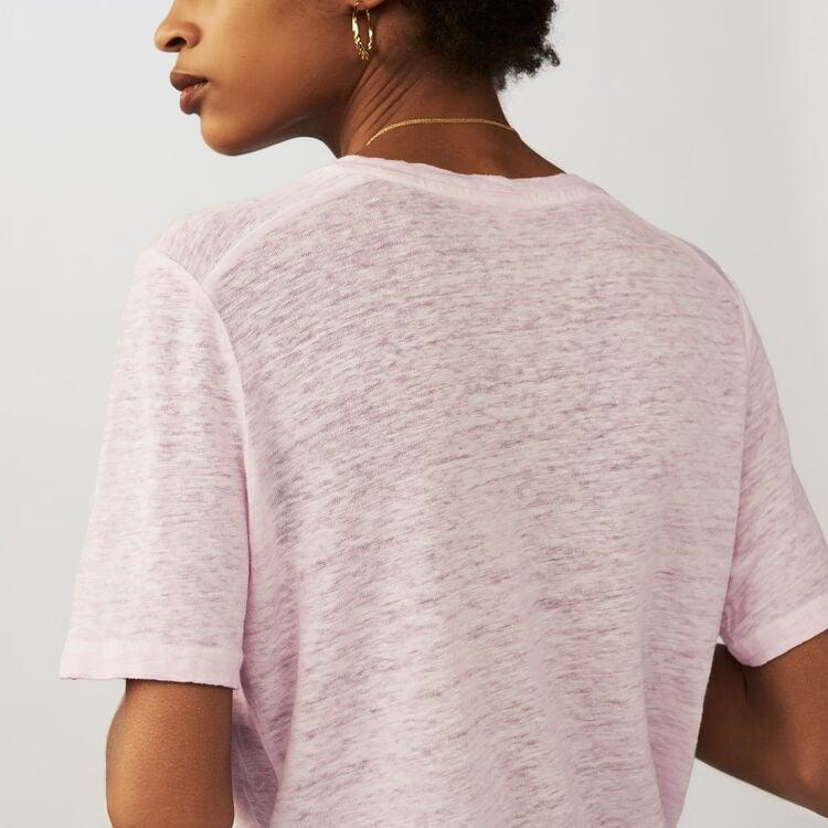 Top loose en lin : T-shirts couleur LILAS