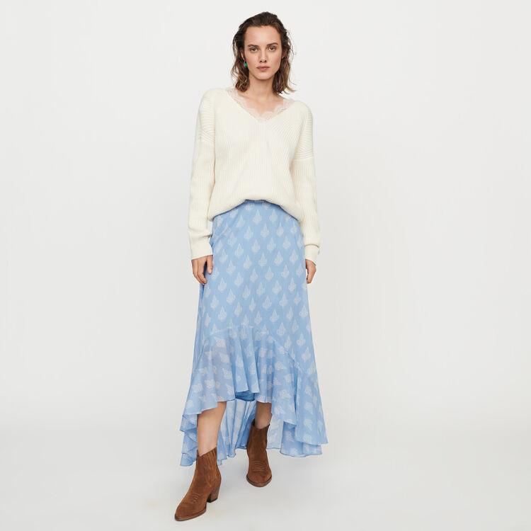 Jupe longue imprimée avec volants : Jupes & Shorts couleur Bleu