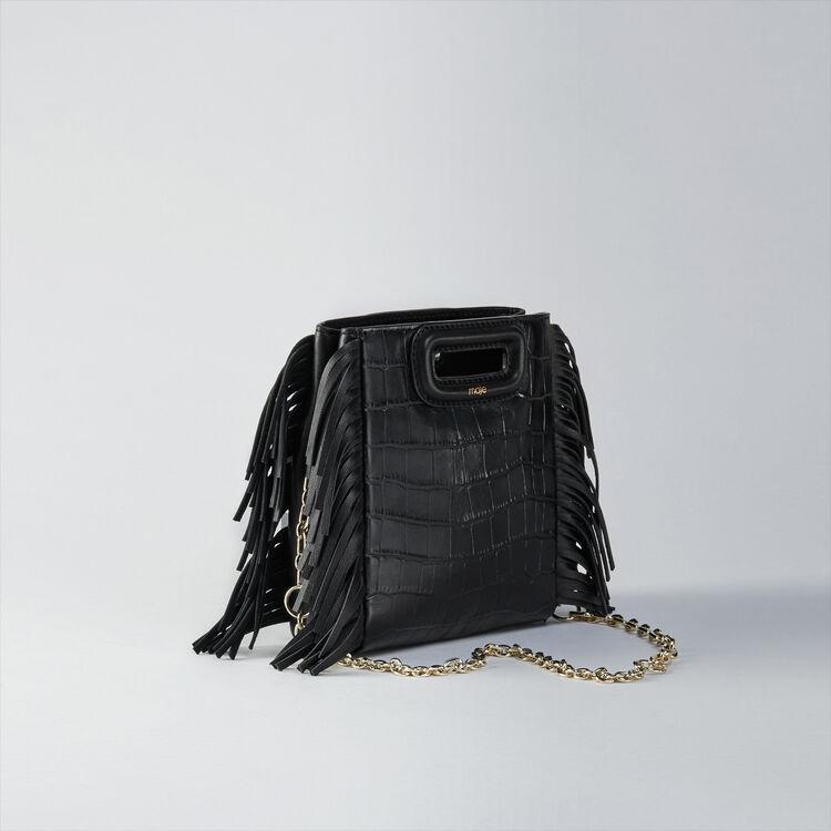 Sac M Mini en cuir embossé avec chaîne : M Mini couleur Noir
