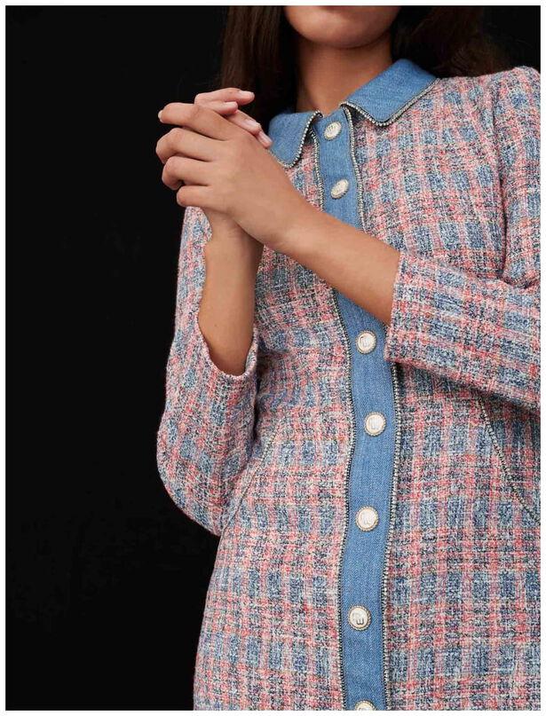 마쥬 원피스 MAJE Robe facon tweed A contrastes en jean,Rouge