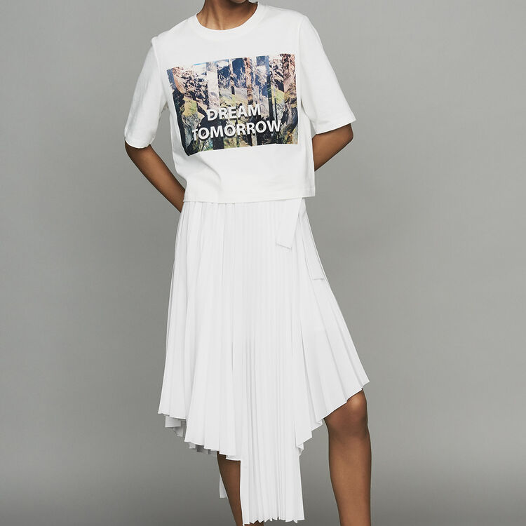 Tee-shirt court imprimé : T-Shirts couleur Blanc