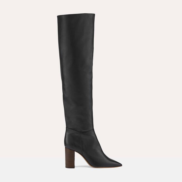 Cuissardes en cuir à talon : Chaussures couleur Black