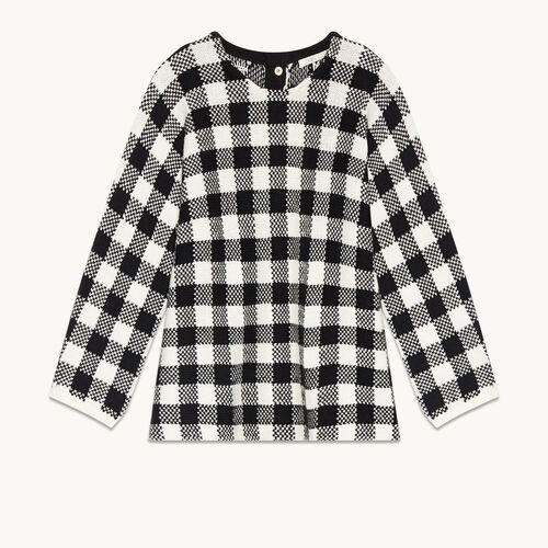 Pull court en jacquard vichy - null - MAJE