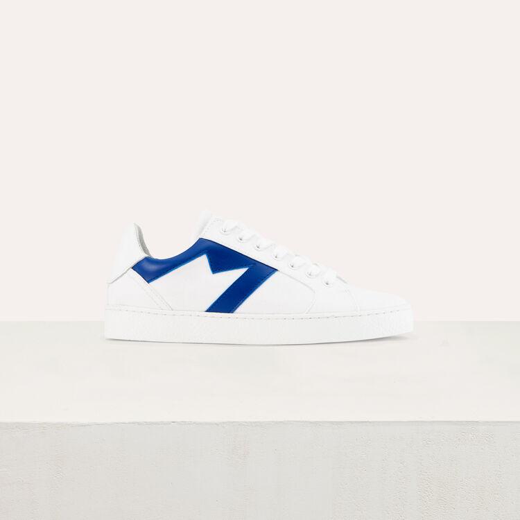 Baskets en cuir avec découpe M : Chaussures couleur Bleu