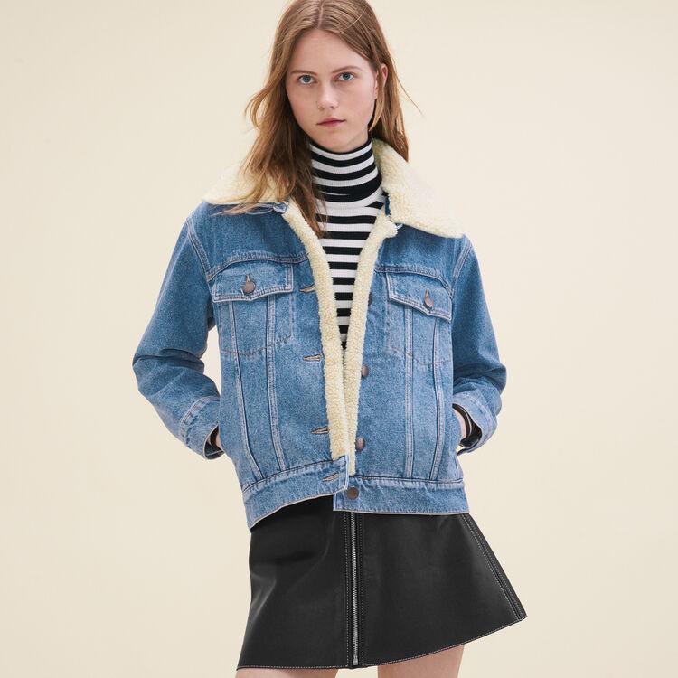 Veste en jean avec détail en peau lainée : Blousons couleur Denim
