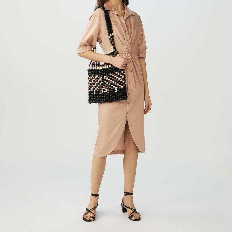 Robe-chemise avec drapé : Robes couleur BEIGE SABLE