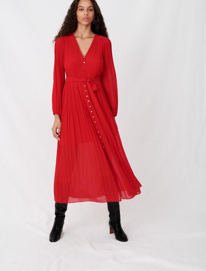 Robe en mousseline plissée et ceinturée - Robes - MAJE