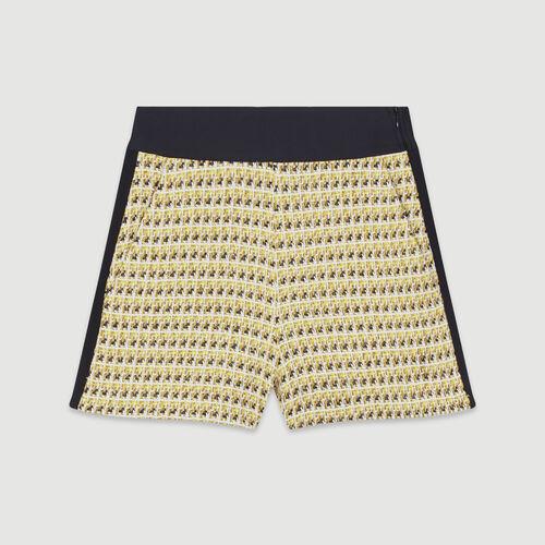 Short en tweed et lurex : Jupes & Shorts couleur JAUNE