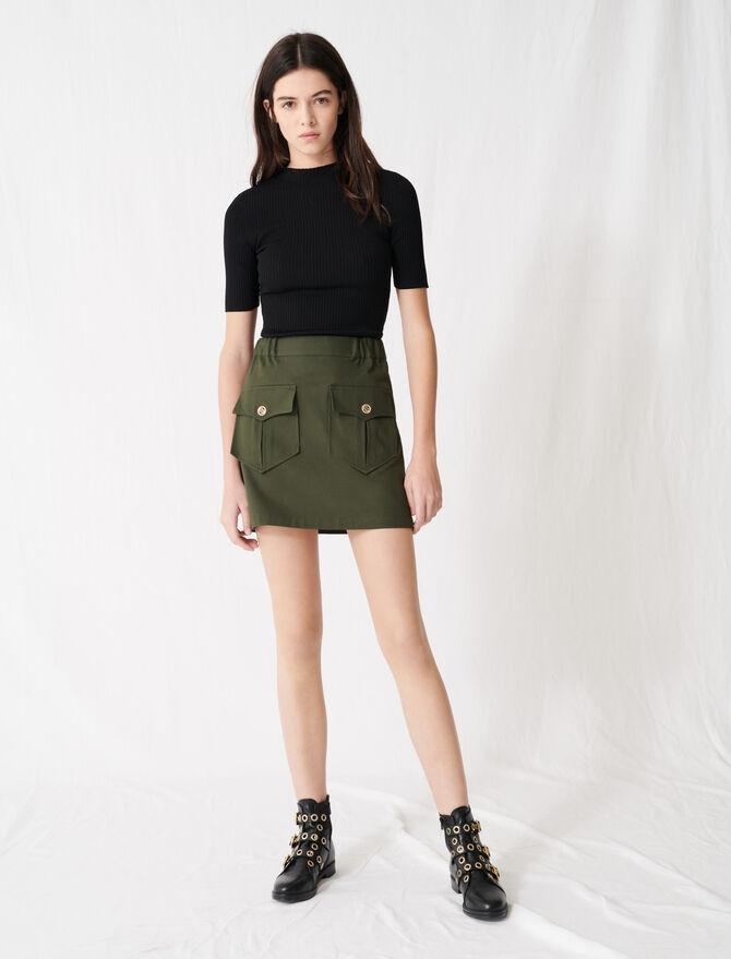 Jupe kaki en coton avec poches - Jupes & Shorts - MAJE