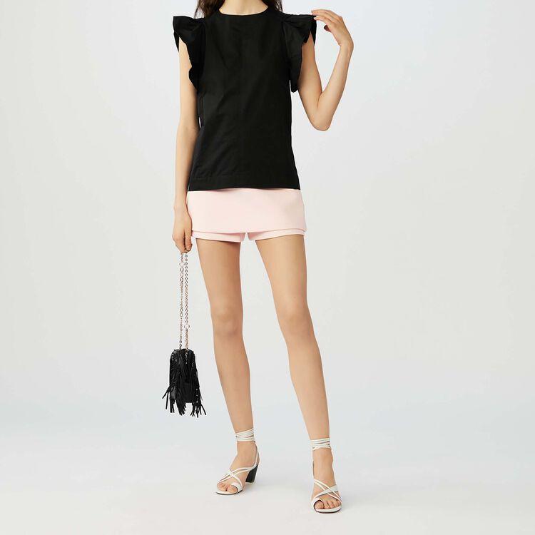 Top à volants en toile de coton : Tops couleur Black