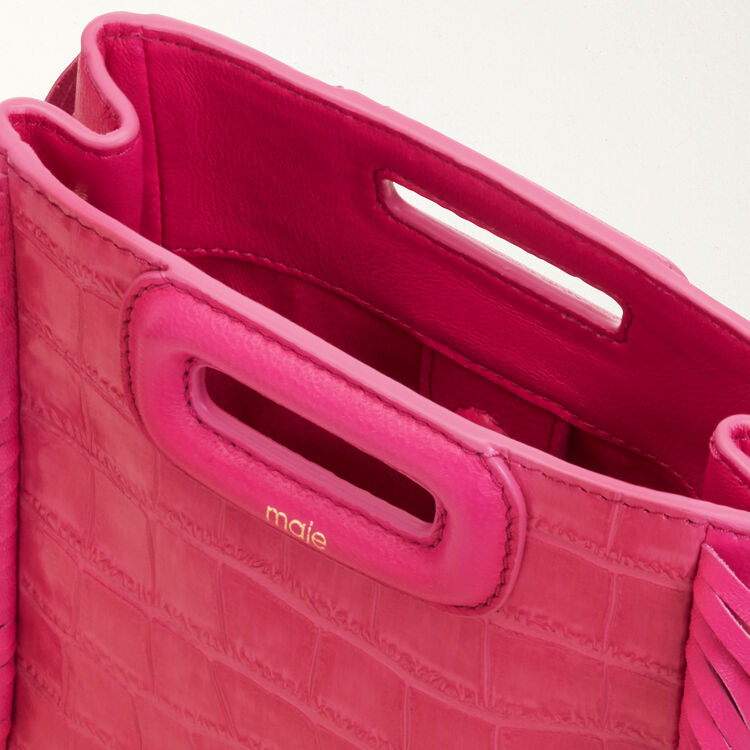 Sac M Mini en cuir embossé crocodile : M Mini couleur ROSE