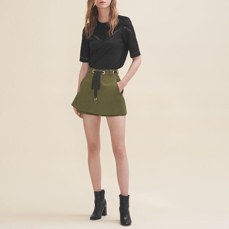 Short avec œillets et laçage : Jupes & Shorts couleur Kaki
