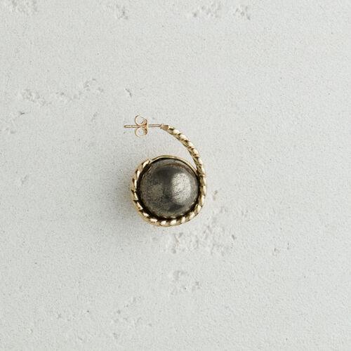 Boucle d'oreille droite en pierre : Bijoux couleur OLD SILVER