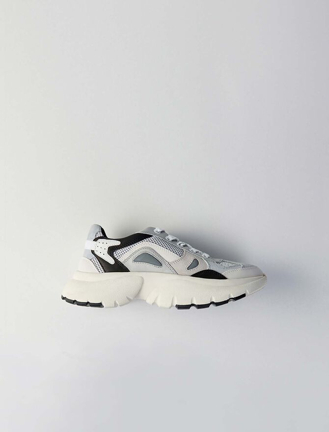 Sneakers W20 en cuir et tissu réfléctif -  - MAJE