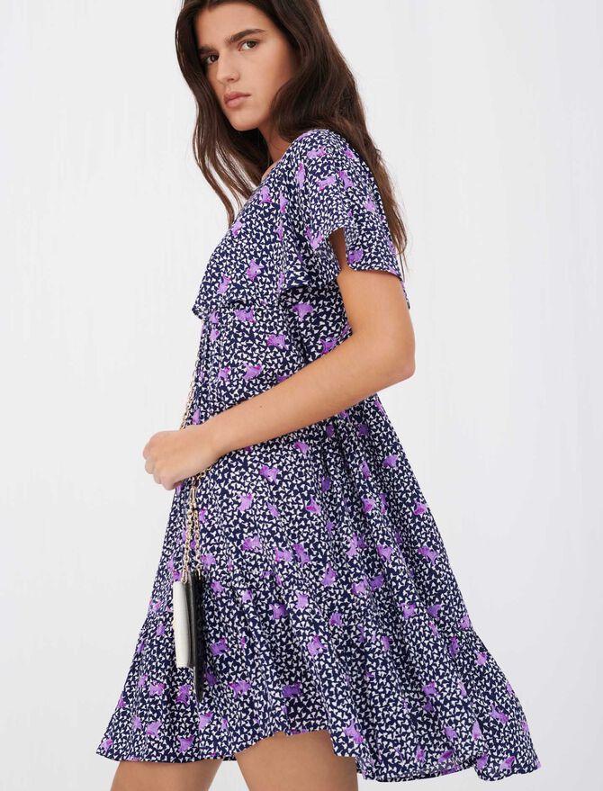 Robe façon baby doll en crêpe imprimé - Robes - MAJE