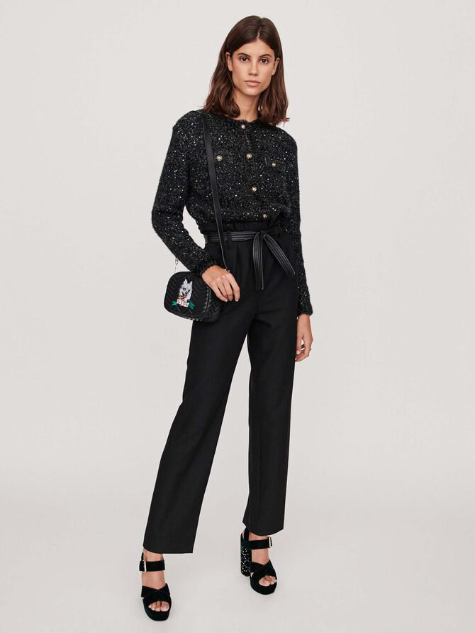 Pantalon ceinturé en chevron - Pantalons & Jeans - MAJE