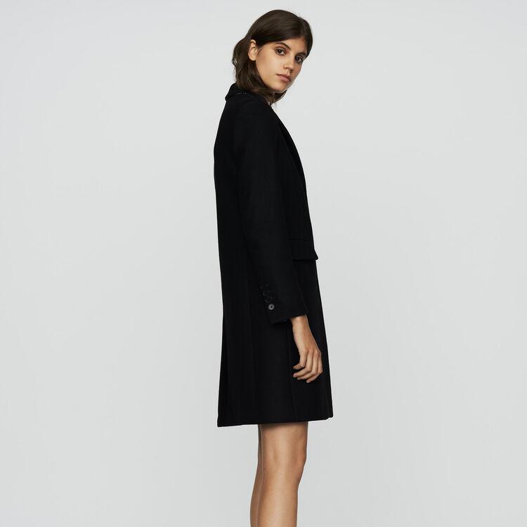 Manteau droit en laine vierge : Manteaux couleur Black