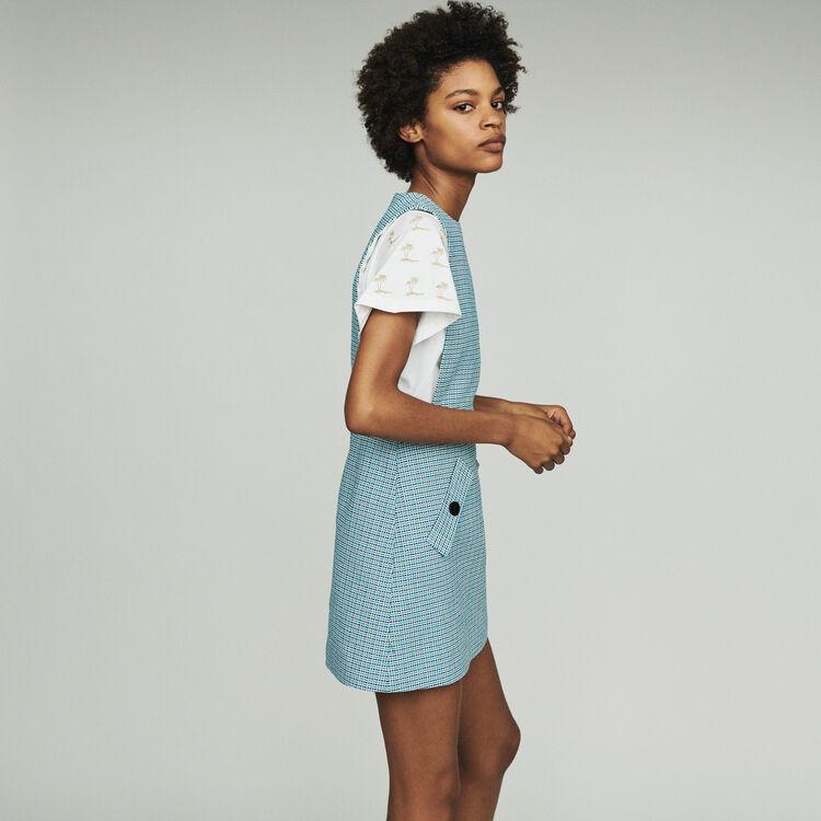 Robe chasuble en natté façon tweed : Robes couleur Bleu