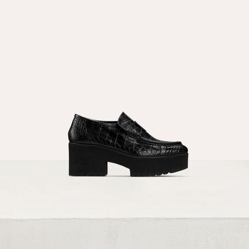 Mocassins plateforme en cuir embossé : Office girl couleur BLACK