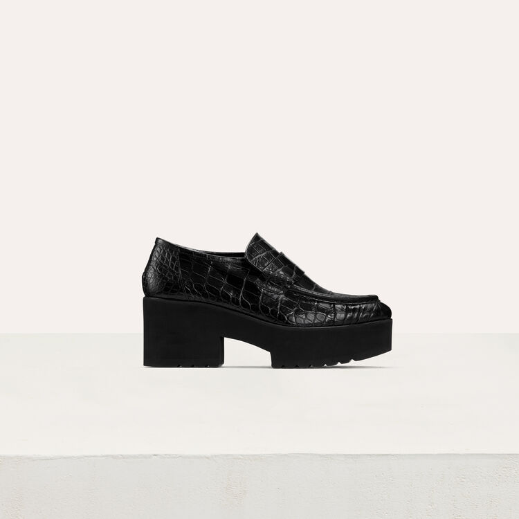 Mocassins plateforme en cuir embossé : Chaussures plates couleur Black