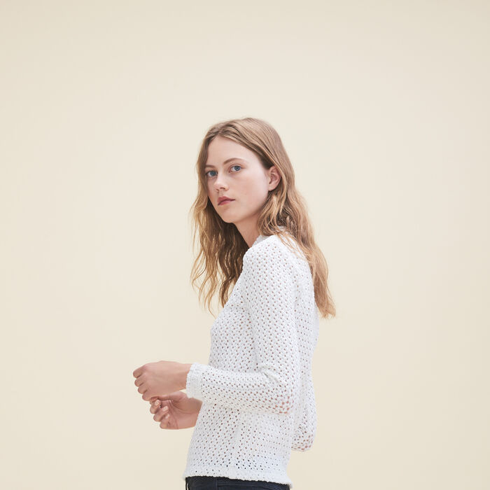 Top en mix de broderie -  - MAJE